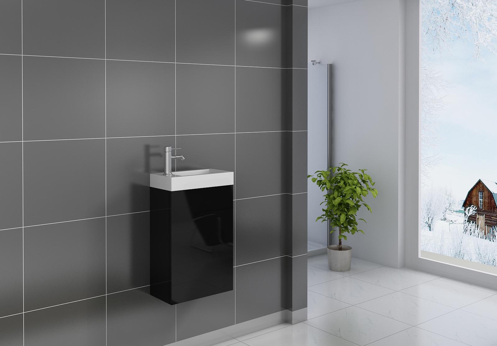 Gäste-WC Waschbecken 40 x 22 cm schwarz Vega
