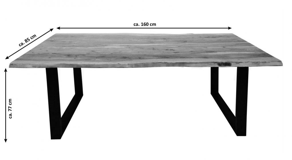Esstisch Baumkante massiv Akazie natur 160 x 85 schwarz NOAH
