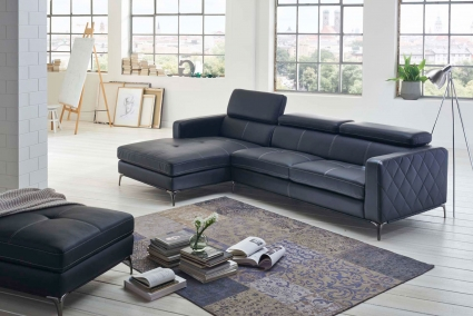 Sofa Couch Ecksofa anthrazit Ottomane links 300 x 132 cm  Dario