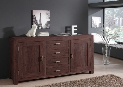 Sideboard Kommode 175 x 85 cm Akazie massiv tabak TIMBER 6650